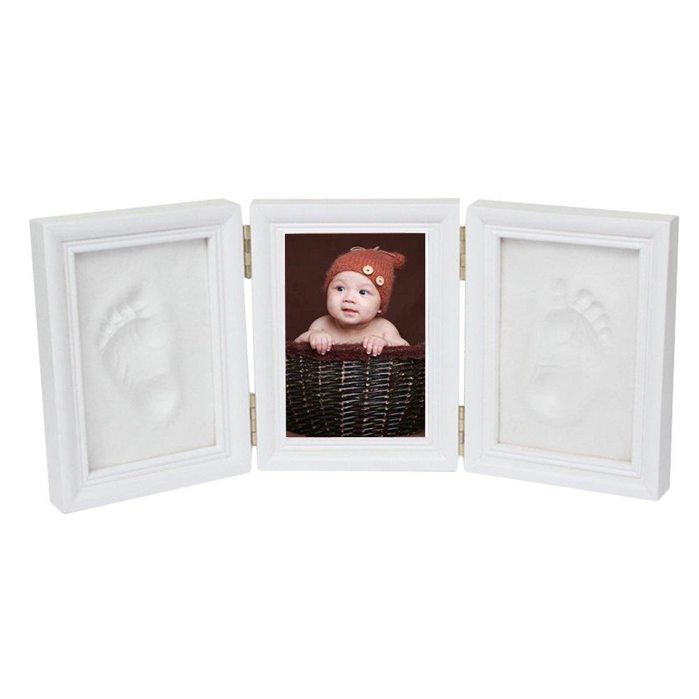 Leisial Marco de Foto de Impresión Handprint y Huella Bebé Kit de