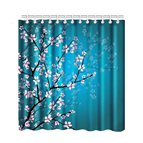 Flowering Trunk (Bnxbb Pink Flowers Flowering Shower Curtain, Trunk Plant Spring, Waterproof Mildew Shower Curtain Machine Washable 12 Hooks (Eaton Blue, 72