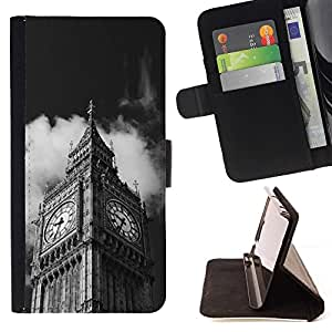 For Samsung Galaxy S6 Active G890A Case , Arquitectura Big Ben Close Up Londres- la tarjeta de Crédito Slots PU Funda de cuero Monedero caso cubierta de piel