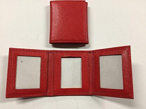 Photo Leather Grain - Budd Leather Lizard Grain Triple Photo Frame, Red (552210L-9)