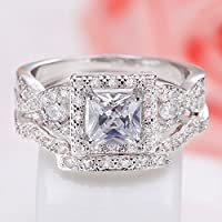 by lucky 925 Silver White Topaz Princess Cut Halo Wedding Engagement Ring Set Size 6-12 (6)