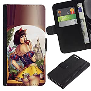 Graphic Case / Wallet Funda Cuero - Skirt Lips Sensual Woman Girl - Apple iPhone 6 PLUS 5.5