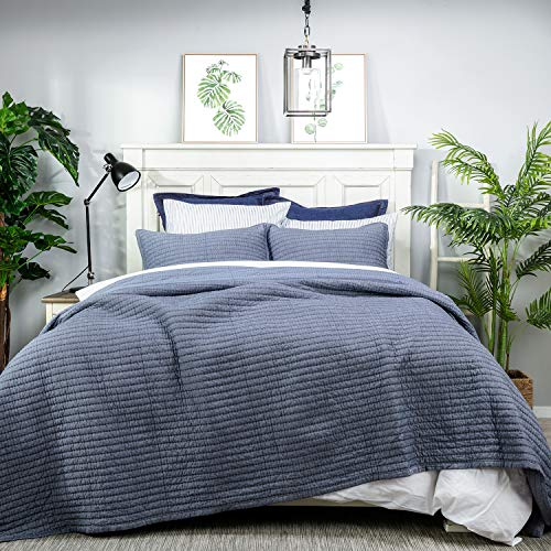 """Elegant Life Cotton Chambray Cross Pic-Stitch Bedding Quilt – Oversized King 106"""" x 90"""""""