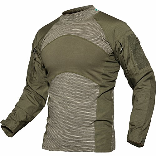 TACVASEN Tactical Combat Quick Dry Shirt Military Duty Uniform Hunting T-Shirt Top Green by TACVASEN