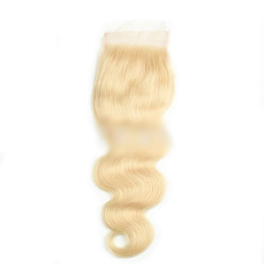 BOBIDYEE ブラジルの実体波人間の髪の毛#613ブロンドの髪4×4レース前頭閉鎖無料パート女性複合かつらレースかつらロールプレイングかつら (色 : Blonde, サイズ : 20 inch) B07RT5CRM8 Blonde 20 inch