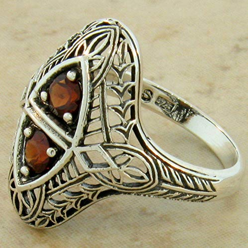 Genuine Garnet Antique Filigree Style 925 Sterling Silver Ring Size 8.75 KN-3202