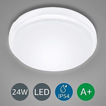 LE Lámpara LED de Techo 24W 2200LM Plafón LED de Baño Blanco Frío 6000K Resistente al Agua IP54 Luz de Techo LED para baño Dormitorio Cocina Sala de ...