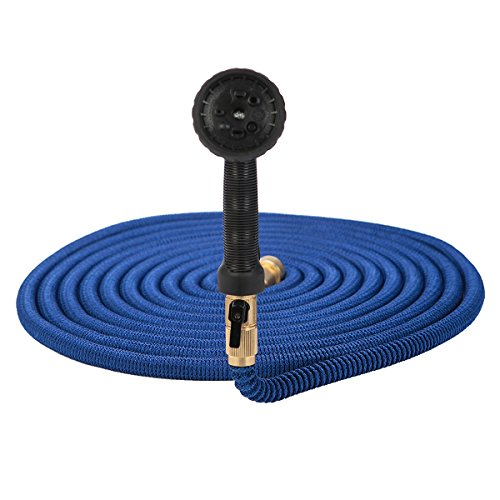 50 Feet Garden Hose Water - 8 Pattern Spray Nozzle with Brass Connector Green