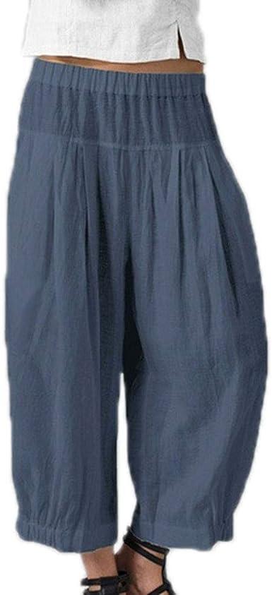Pantalones de Corte Ancho Sueltos de algodón y Lino con Cintura Ancha para Mujer: Amazon.es: Ropa y accesorios