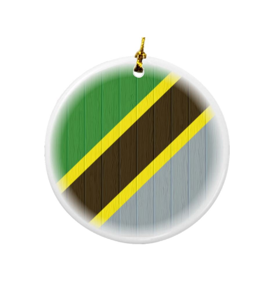 Rikki Knight Tanzania Flag on Distressed Wood Design Round Porcelain Two-Sided Christmas Ornaments