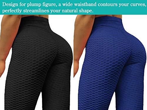 Neleus Women's 2 Pack Tummy Control High Waist Leggings Out Pocket,9036,Black/Blue,S,EU M by Neleus (Image #5)