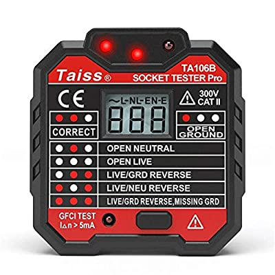 NEW Advanced With voltage display GFCI Outlet Tester 48-250V Power Socket Automatic Electric Circuit Polarity Voltage Detector Wall Plug Breaker Finder TA106B
