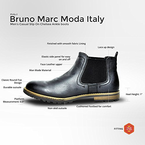 10 M US Bruno Marc Mens Philly-2 Black Leather Lined Chelsea Dress Ankle Boots