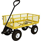 Sunnydaze Garden Cart, Heavy Duty Collapsible Utility Wagon, 400 Pound Capacity, Yellow