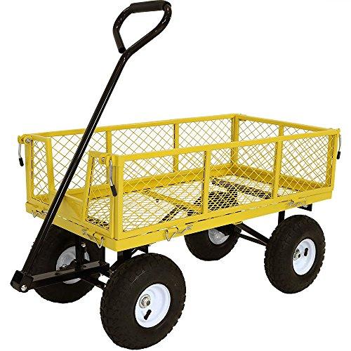 (Sunnydaze Utility Steel Garden Cart, Outdoor Lawn Wagon with Removable Sides, Heavy-Duty 400 Pound Capacity, Yellow)