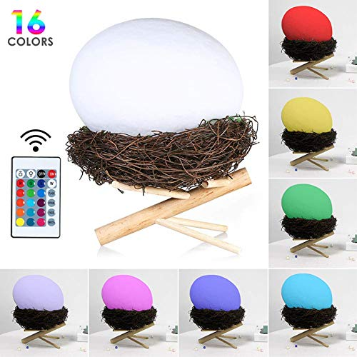 Dimmable Led Night Light USB Rechargeable Bedside Table Lamp for Kids Children Bedroom,Remote Control,16 Colors 4 Light Mode 3D Printed Bird Nest Mood Light,Decorative Lamp Wood Base - Contemporary Via Table