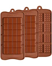 Chocolate Molds 3 Pack, Silicone Break-Apart Chocolate, Protein and Energy Bar Mold, FDA Approved