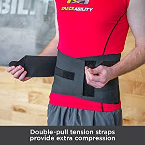 BraceAbility Elastic & Neoprene Compression Back Brace | Lumbar, Waist and Hip Support Belt for Sciatica Nerve Pain, Low Back Ache & Pain Relief while Sleeping, Working, Exercising, Walking (Small)