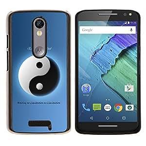 "Be-Star Único Patrón Plástico Duro Fundas Cover Cubre Hard Case Cover Para Motorola Droid Turbo 2 / Moto X Force ( Yin Yang Azul Blanco Filosofía Oponerse"" )"