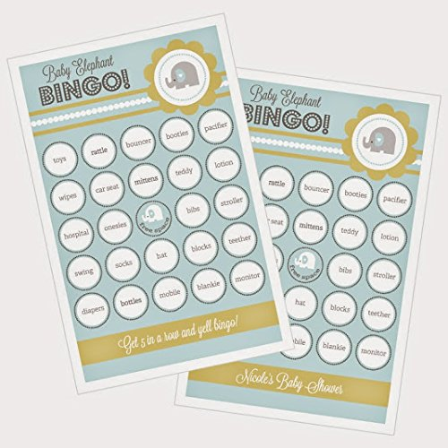3 sets of 16 Blue Elephant Bingo by Eventblossom