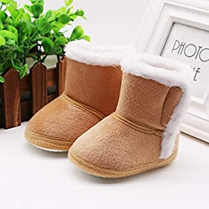Amaone Baby Booties Girls for 0-18Months Winter Warm Solid Color Cashmere Plush Newborn Snow Boots Crib Shoes Toddlers…