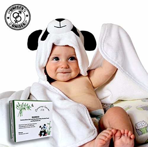 LUXURY 3D BAMBOO Hooded Baby Towel and Washcloth Set | Extra Soft | Organic & Hypoallergenic | Generous Size for Infant, Toddler, Newborn Boys & - Best Shape Long Nose For Face