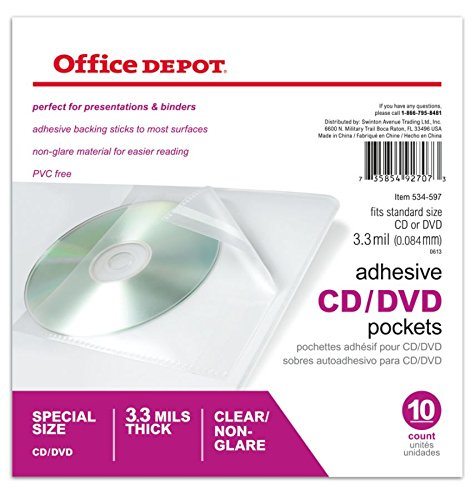 (Office Depot Sheet Protector CD/DVD Pockets, 6in. x 10 1/2in, Clear, Pack of 10, 534597 )