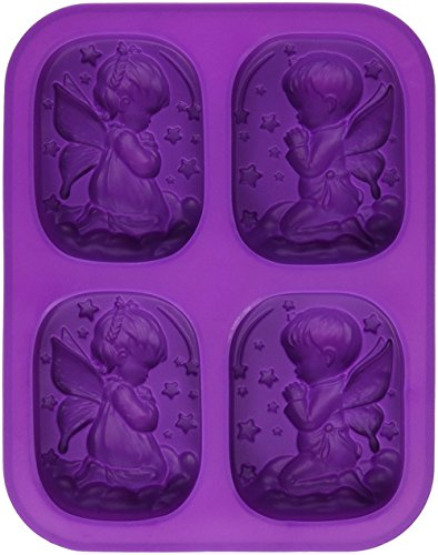 Sharlity Boy Girl Angel Rectangular Soap Mold Silicone Candle for Homemade Craft (Soap Silicone Mold Candle)