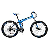 Mountain Bike 21 Speed Shimano Gears Folding Bike 26 Inches Dual Suspension Bicycle