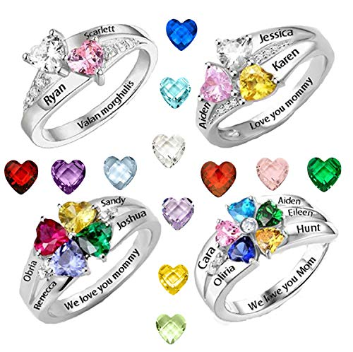 - AILIN Engraving Name Ring Personalized Heart Shape Birthstone Ring Mother's Day Ring Gift for Her Promise Ring Band Engagement Ring Sterling Sliver