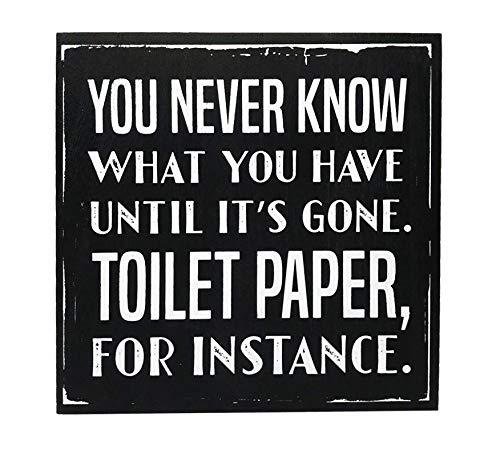 Zazzy Signs Vintage Bathroom Decor, Toilet Paper Decorative Wood Box Sign, Large, 10x10 Inch, Black … (Black Sign) ()