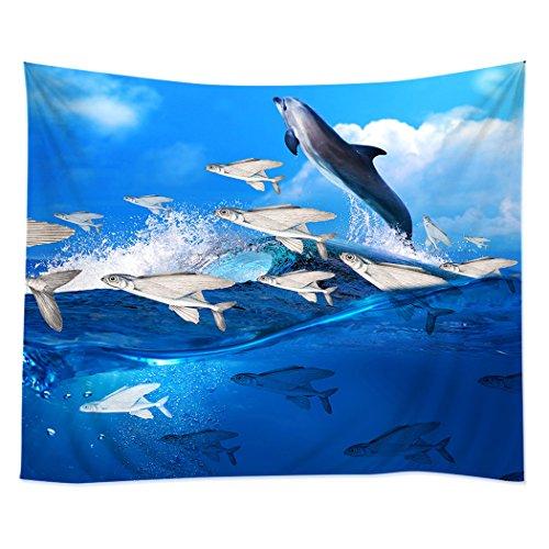 (TSlook Hippie Tappassier Tapestry Bohemian Bedspread Blue Ocean Dolphin Flying Fish Waves 40