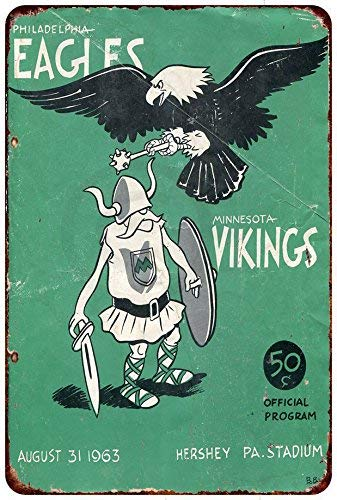 Jesiceny New Tin Sign Philadelphia Eagles vs Minnesota Vikings 1963 Aluminum Metal Sign 8x12 Inches