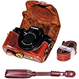 First2savvv XJPT-G5X-10 Dark Brown full body Precise Fit PU leather digital camera case bag cover with should strap for Canon PowerShot G5X + dark brown camera strap