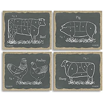 Gango Home Decor Chalkboard And Burlap Style Kitchen Art Sectioned Farm  Animals Cow, Pig,