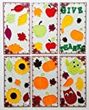 Fall and Thanksgiving Window Gel Clings - 6 Sets - Scarecrows, Pumpkins, Owls, Leaves, Sunflowers and Other Fall Themes