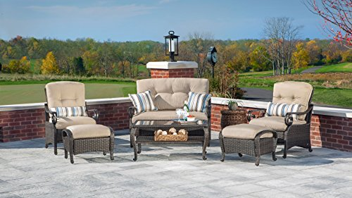 La-Z-Boy-Outdoor-Lake-Como-6-Piece-Deep-Seating-Resin-Wicker-Patio-Furniture-Conversation-Set-Khaki-Tan-Loveseat-Two-Lounge-Chairs-Two-Ottomans-and-Coffee-Table-With-All-Weather-Sunsharp-Cushions