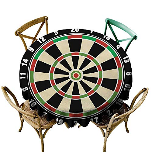 Wendell Joshua Tablecloth 60 inch Sports,Dart Board Numbers Sports Accuracy Precision Target Leisure Time Graphic,Vermilion Green Black 100% Polyester Spillproof Tablecloths for Round Tables