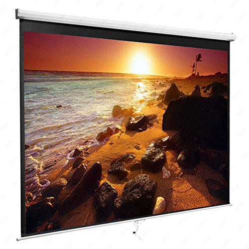 84 Inch Manual Pull Down Projector Projection Screen 16:9 Home Theater Movie