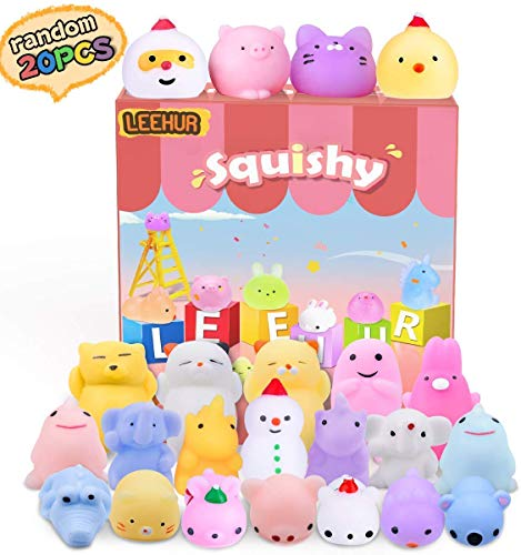 LEEHUR Birthday Party Favors Squishies Kids Mochi Squishy 20Pcs Kawaii Soft Mini Moji Moji Squeeze Stress Anxiety Relief Toys Easter Egg Fillers Basket Stocking Stuffers Goodie Bag Class Prize Random