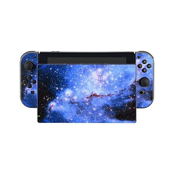 eXtremeRate Full Set Faceplate Skin Decal Stickers for Nintendo Switch with 2Pcs Screen Protector (Console & Joy-con & Dock & Grip) -Blue Galaxy 5