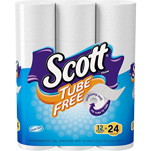 Toilet Paper, Mega Roll 12 Rolls Equals 24 Rolls White - Soft - Strong Comfortable Wipe - 400 One-Ply Sheets Per Roll Toilet Paper Tubes