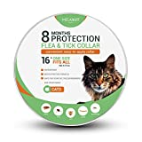 Flea and Tick Collar for Cats - Prevention and Control Fleas - Ticks - Lice and Pests for 8 Months - Hypoallergenic and Safe Design - 1 Size Fully Adjustable Waterproof Kitten Collar