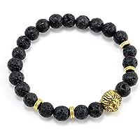 Cool Mens 8MM Black Lava Stone Gold Lion Beaded Charm Bracelet Gift Cheapest LOVE STORY