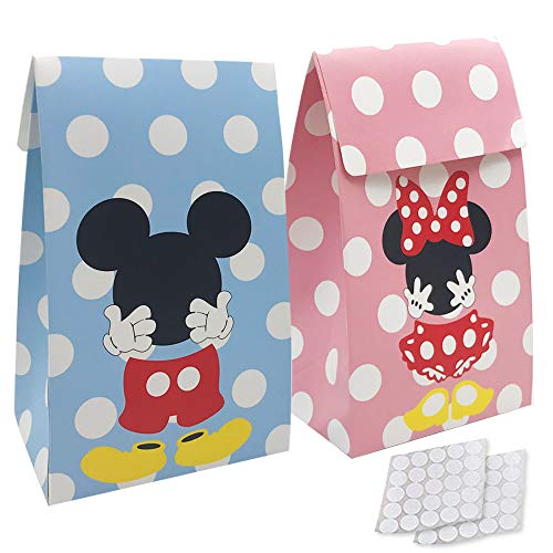 Cheap Minnie Mouse Party Favors (20 Packs Mickey Minnie Paper Candy Favor & Treat Bags for All Parties, Perfect for Birthday Parties, Baby Shower, Weddings and Bridal)