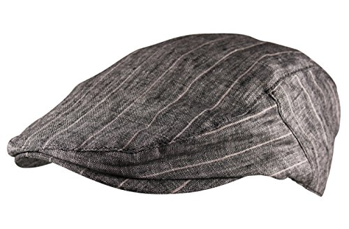 Itzu Mens 100% Linen Flat Cap Hat Striped Breathable Golf in Natural Grey -
