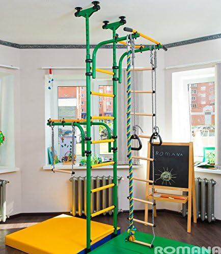 verde) parque infantil para niños que conecta al suelo y techo/interior gimnasio Entrenamiento conjunto con accesorios equipos deportivos: barra de trapecio, cuerda, escalador, cuerda, gimnasia - olímpico: Amazon.es: Deportes y aire libre