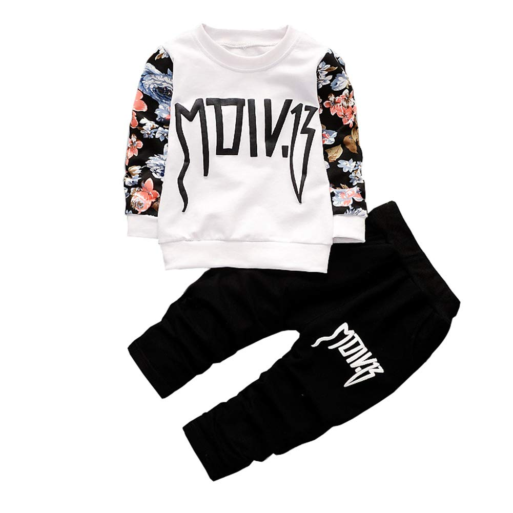 Mornyray Kids Boys 2Pcs Outfit Letter Print Long Sleeve Floral T-Shirt+Pants
