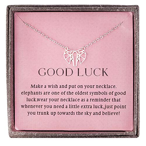 Burning Love Sterling Silver Good Luck Elephant Necklace Pendant Animal Jewelry for Women Girls Gifts for Women Simple Necklace for Daughter Birthday Gifts for Best Friends Girlfriend ()
