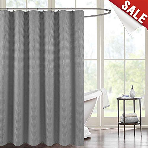 Waterproof Fabric Shower Curtain for Bathroom,Waffle Woven Fabric Metal Grommets Top, 70 by 72 inches, Grey